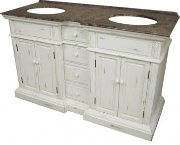 58 Inch Transitional Double Sink Bathroom Vanity Traditional