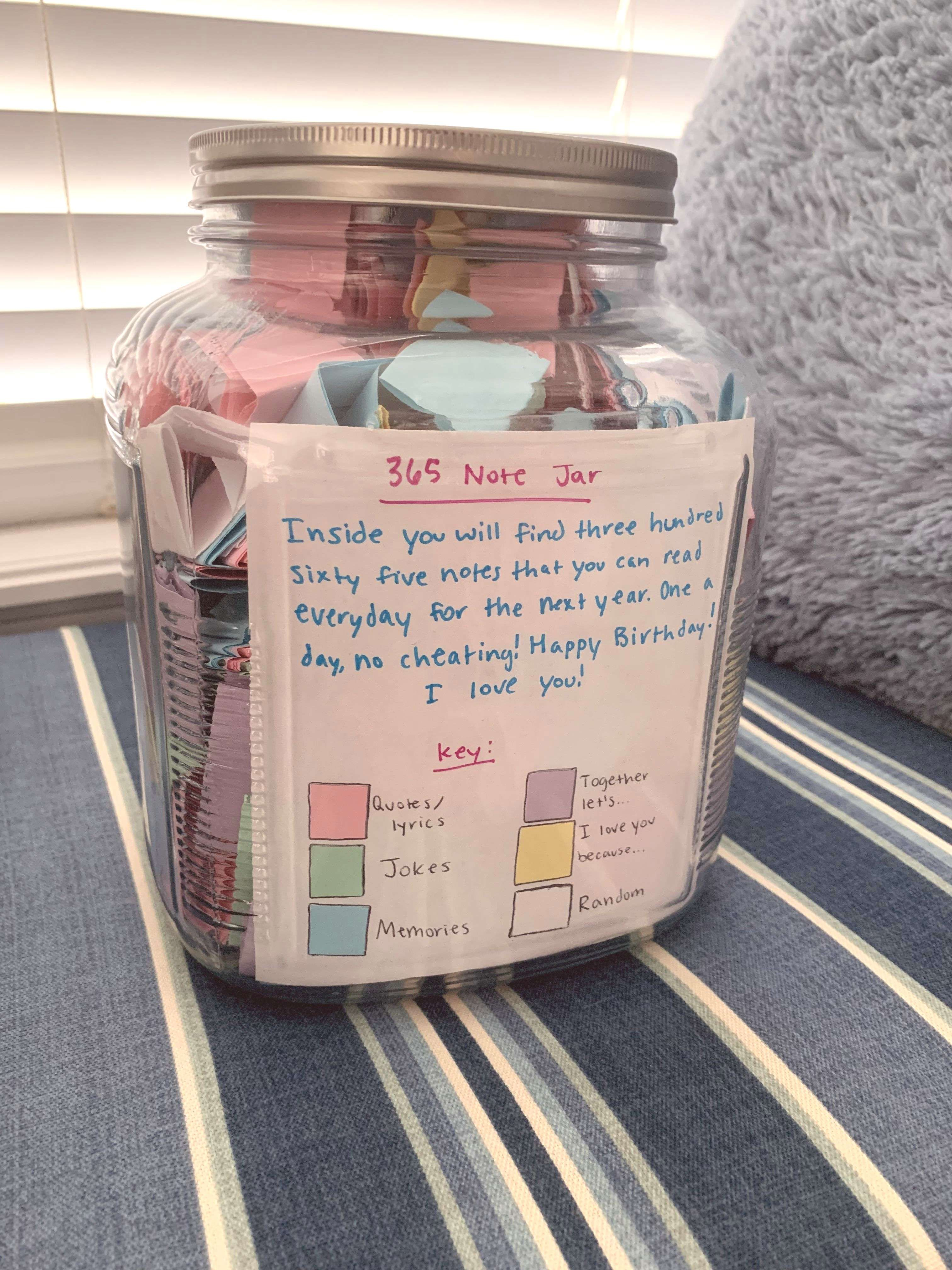 Boyfriend Birthday Present Friend Note Best 365 Jar For 365 Note Jar Birthday Presen Cute Best Friend Gifts Diy Best Friend Gifts Bff Birthday Gift
