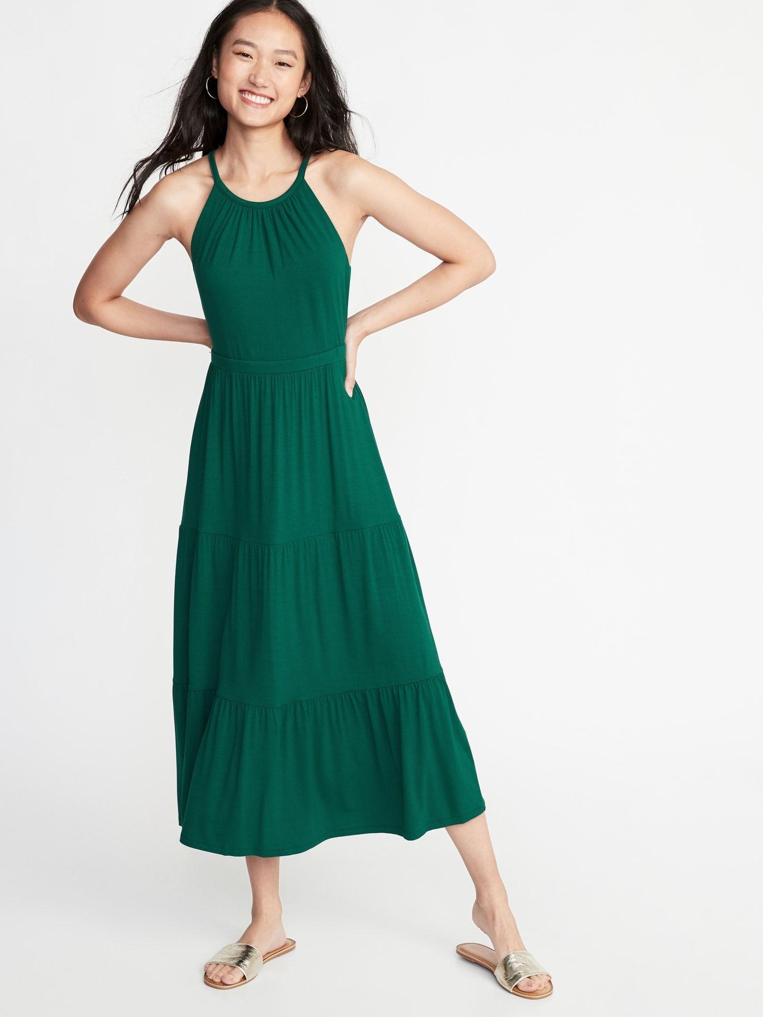 cfbb497a3c4 High-Neck Waist-Defined Maxi Dress for Women in 2019