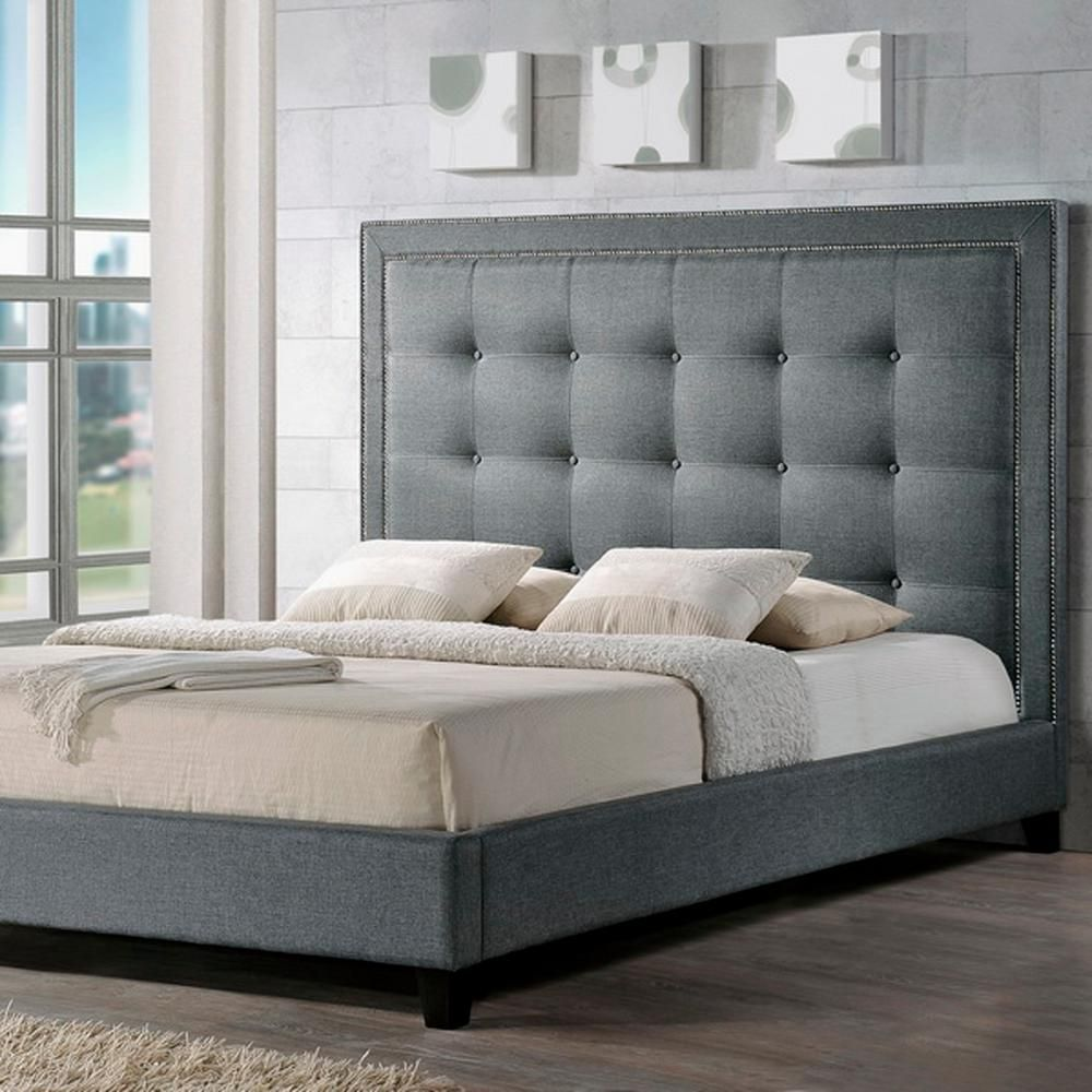 Baxton Studio Hirst Transitional Gray Fabric Upholstered Queen