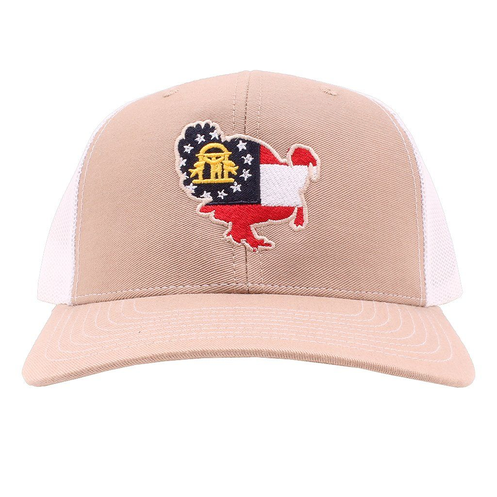 Georgia Flag Turkey Hat in Khaki and White by Southern Snap Co ... ef009529b50