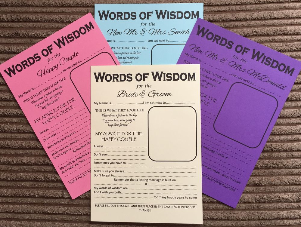 inviting for wedding words%0A A  Wedding Words of Wisdom Table Trivia Bride Groom Advice Game Favour Favor