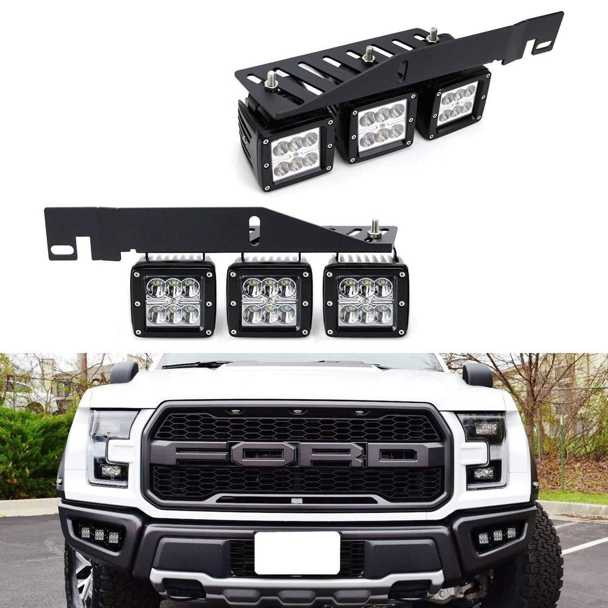 Lower Bumper Mount High Power Led Fog Lighting Kit For 17 Up Ford Raptor 6 Cree 2x3 Led Pod Light Heavy Duty Mounting Brackets Wiring Switch In 2020 Ford Raptor Ford