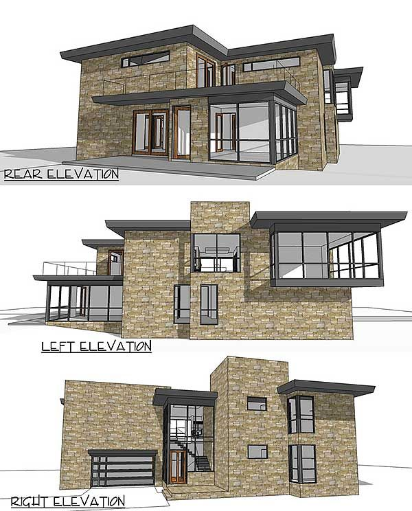 Architectural designs modern house plan td seen from the rear and sides see front early construction photos on our site beds baths also rh pinterest