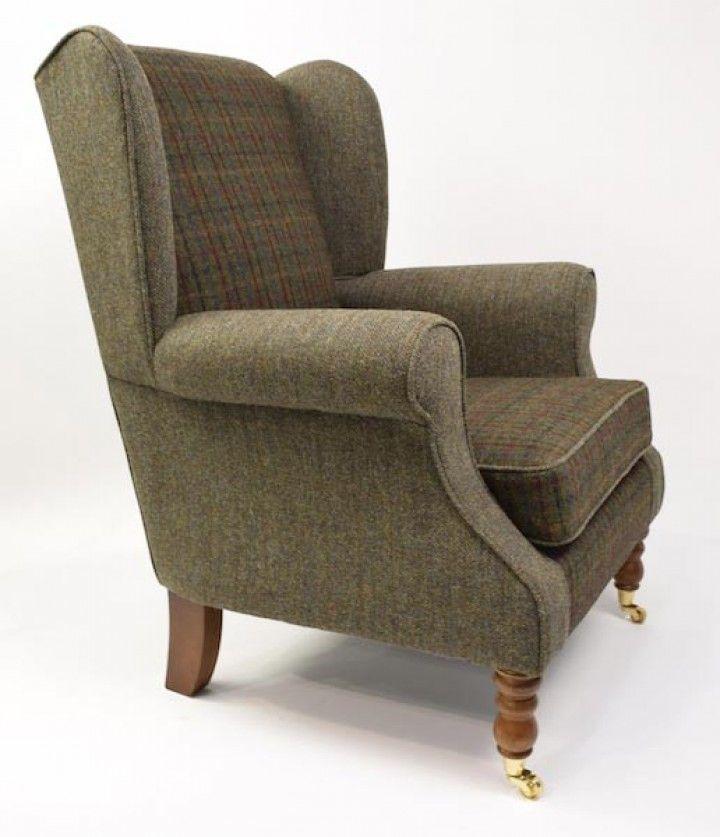 Lewis Harris Tweed Bracken Wingback Chair   The Millshop Online #fabric # Wingback