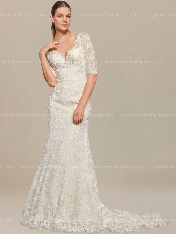 Vintage Lace Wedding Dress with Elbow Sleeves DE114 | Lace wedding ...