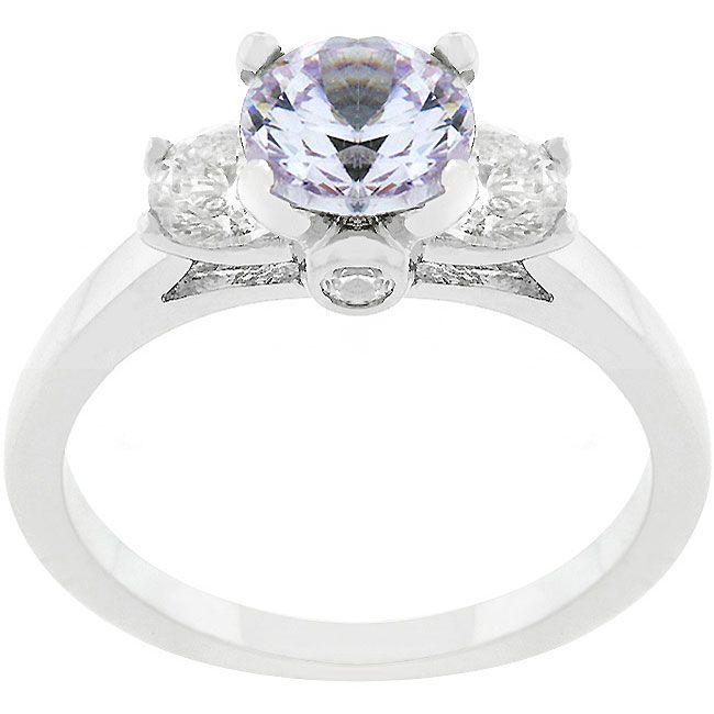 Kate Bissett Silvertone Base Metal Triplet Round CZ Engagement-Style Ring