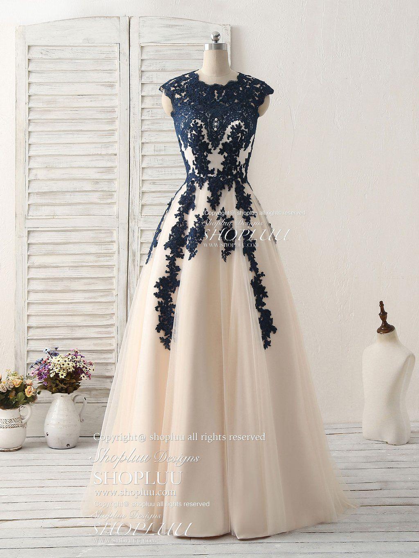 Dark blue lace applique tulle long prom dress blue bridesmaid dress