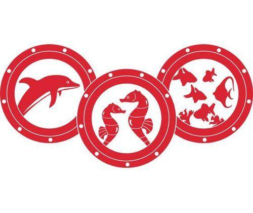 Photo of Happy Larry wall sticker portholes, dolphin, seahorse | Wayfair.de