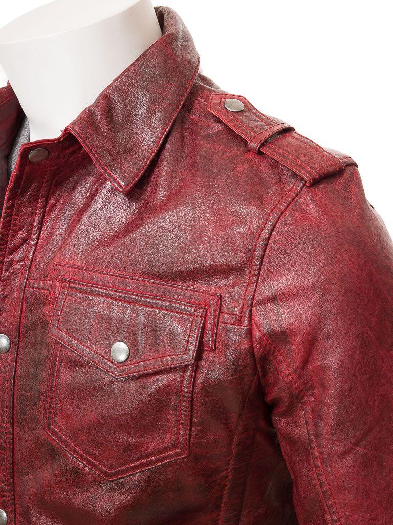 Men S Red Leather Shirt Jacket Denbury Leather Bomber Jacket Leather Shirt Red Leather Leather Hoodie [ 1024 x 768 Pixel ]
