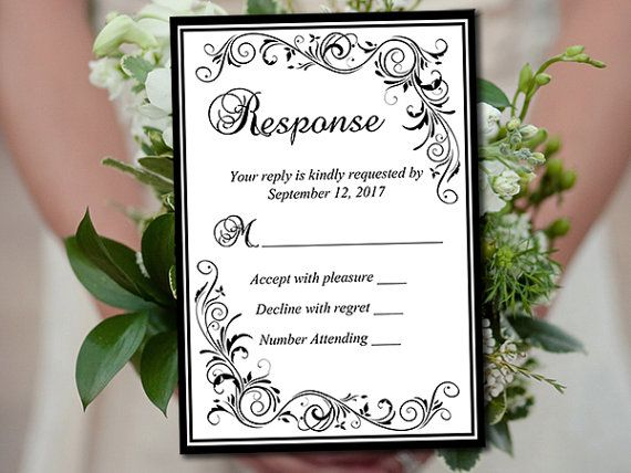 Wedding rsvp template invitation rsvp black grand flourish diy wedding rsvp template invitation rsvp black by paintthedaydesigns stopboris Image collections