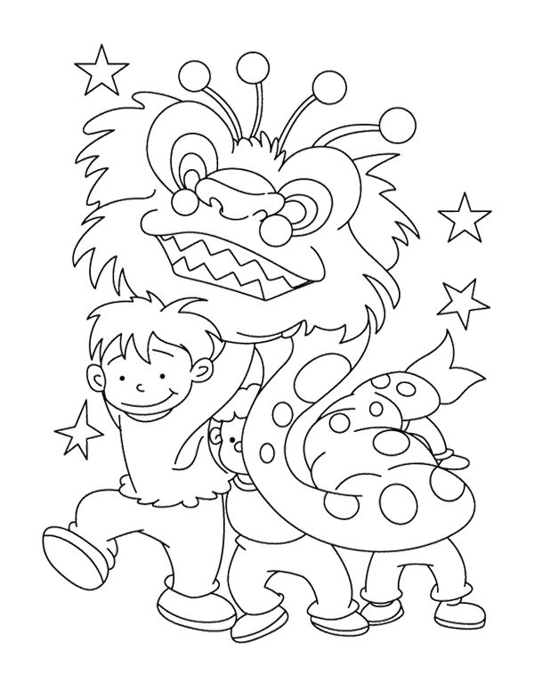 The Children Celebrate Chinese New Year Coloring Page Favorite