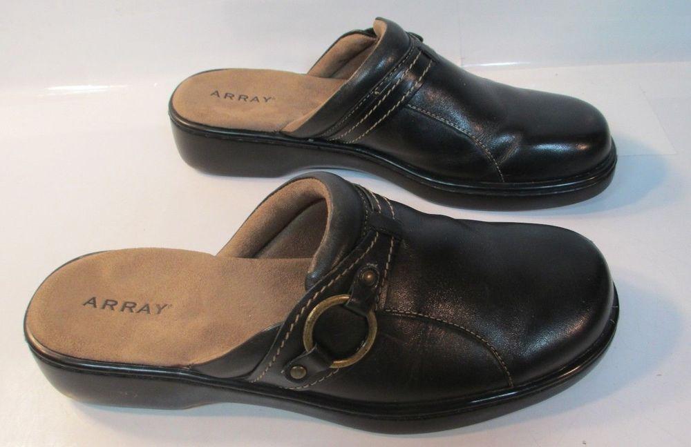 ARRAY Damenschuhe lyric Leder Closed schwarz, Toe Clogs, schwarz, Closed Größe 5S EUC ad40b9