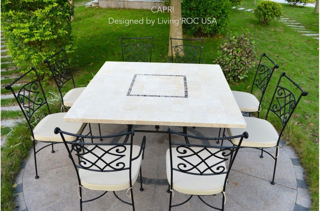 55 Square Stone Outdoor Patio Marble Dining Table Capri With