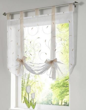 Roman Shade European Embroidery Style Tie Up Window Curtain