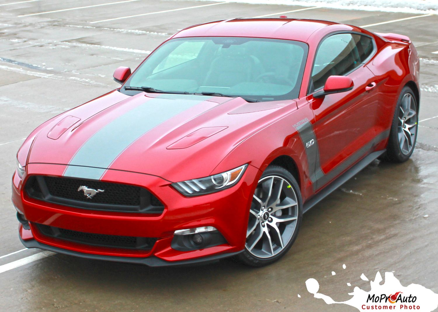 Stellar 2015 ford mustang boss style hood and side vinyl graphic decals stripes