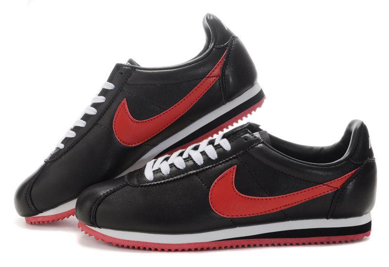 6c3dad9bf5d Meilleur Authentique Nike Cortez Peau Noir Rouge Homme