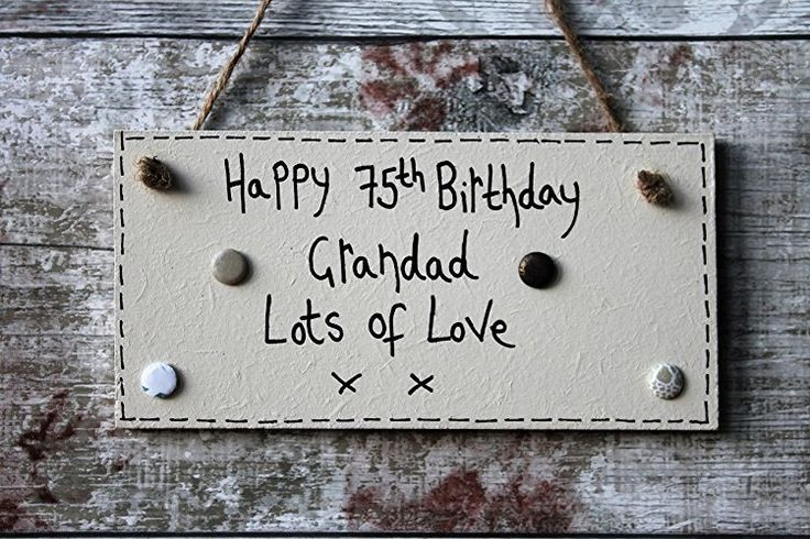 Birthday Gifts MadeAt94 Handmade Personalised Happy Grandad 75th Plaque Gift 60th 65th 70th 85th