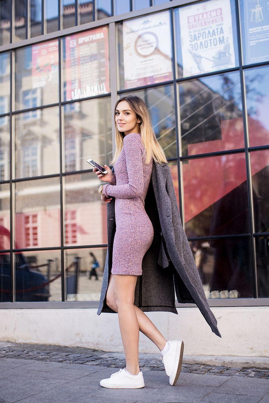 Sweater Dress Combined With White Sneakers Great Street Style Women Scoats Sweater Dress Sweater Dress Fashion Dress And Sneakers Outfit [ 1410 x 940 Pixel ]