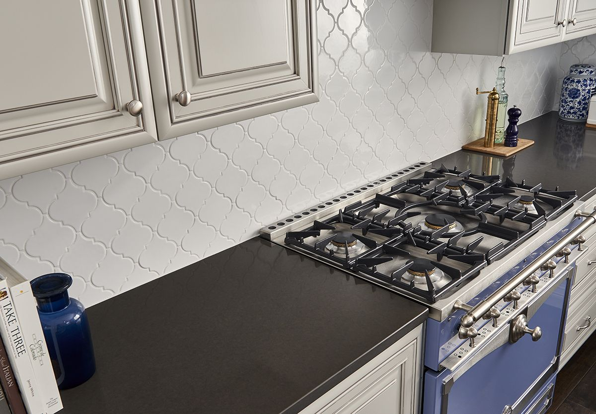 Mystic Gray Quartz Countertops Feature A Mid Tone Gray Background And Subtle Speckles For Added D White Arabesque Tile Arabesque Tile Backsplash Arabesque Tile