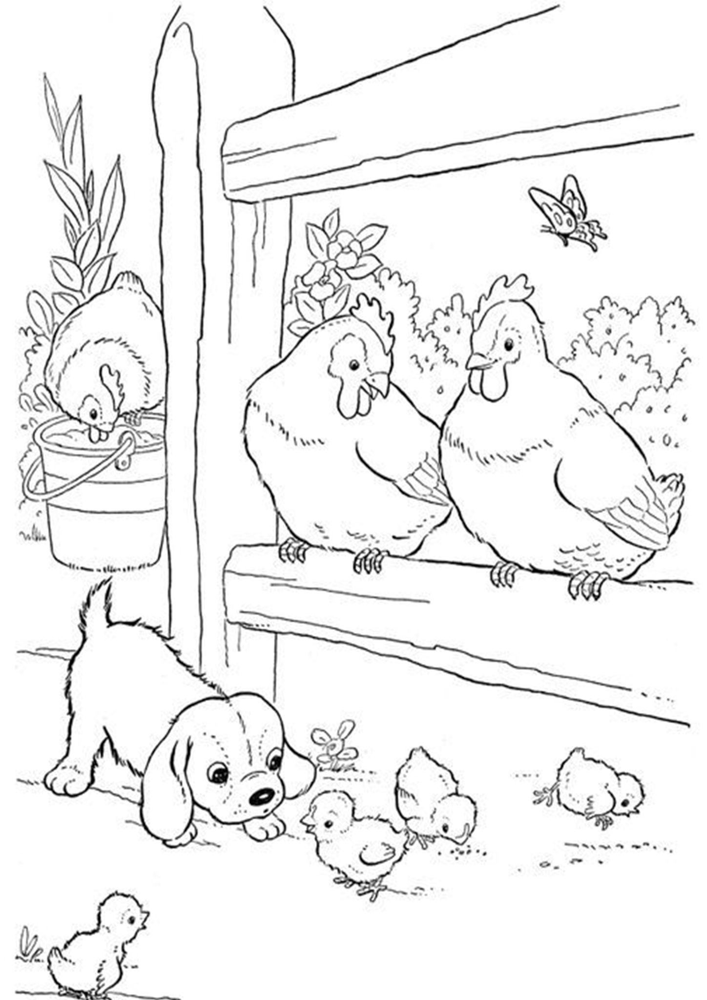 Free & Easy To Print Chicken Coloring Pages in 2020 Farm