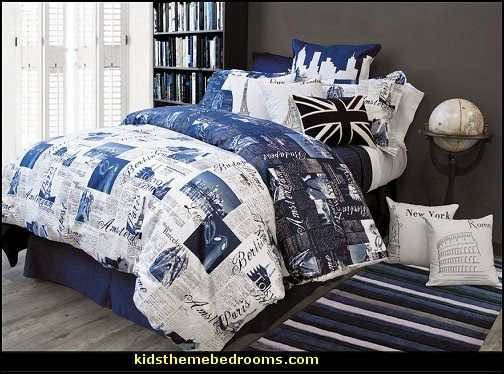 Passport Blue Bedding Travel Theme Bedroom Decorating Ideas