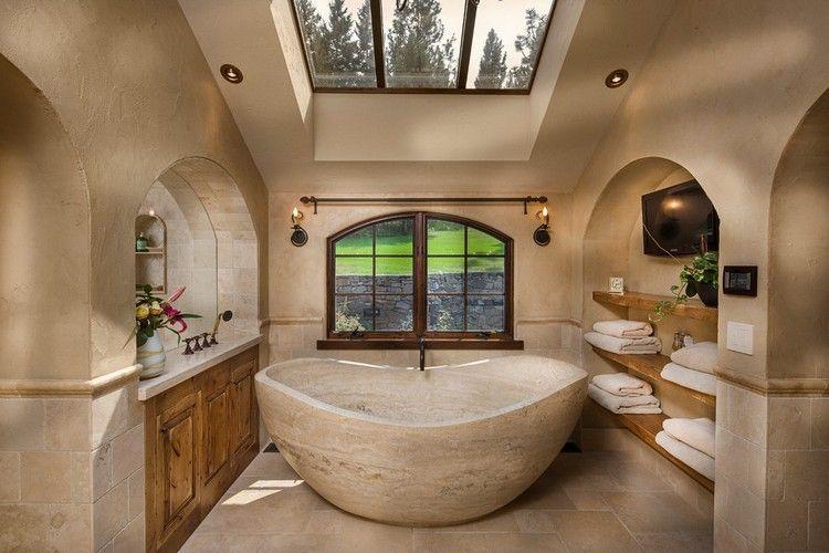 Außergewöhnliches Badezimmer Mit Beigen Naturstein Fliesen. #naturstein  #beige #badezimmer