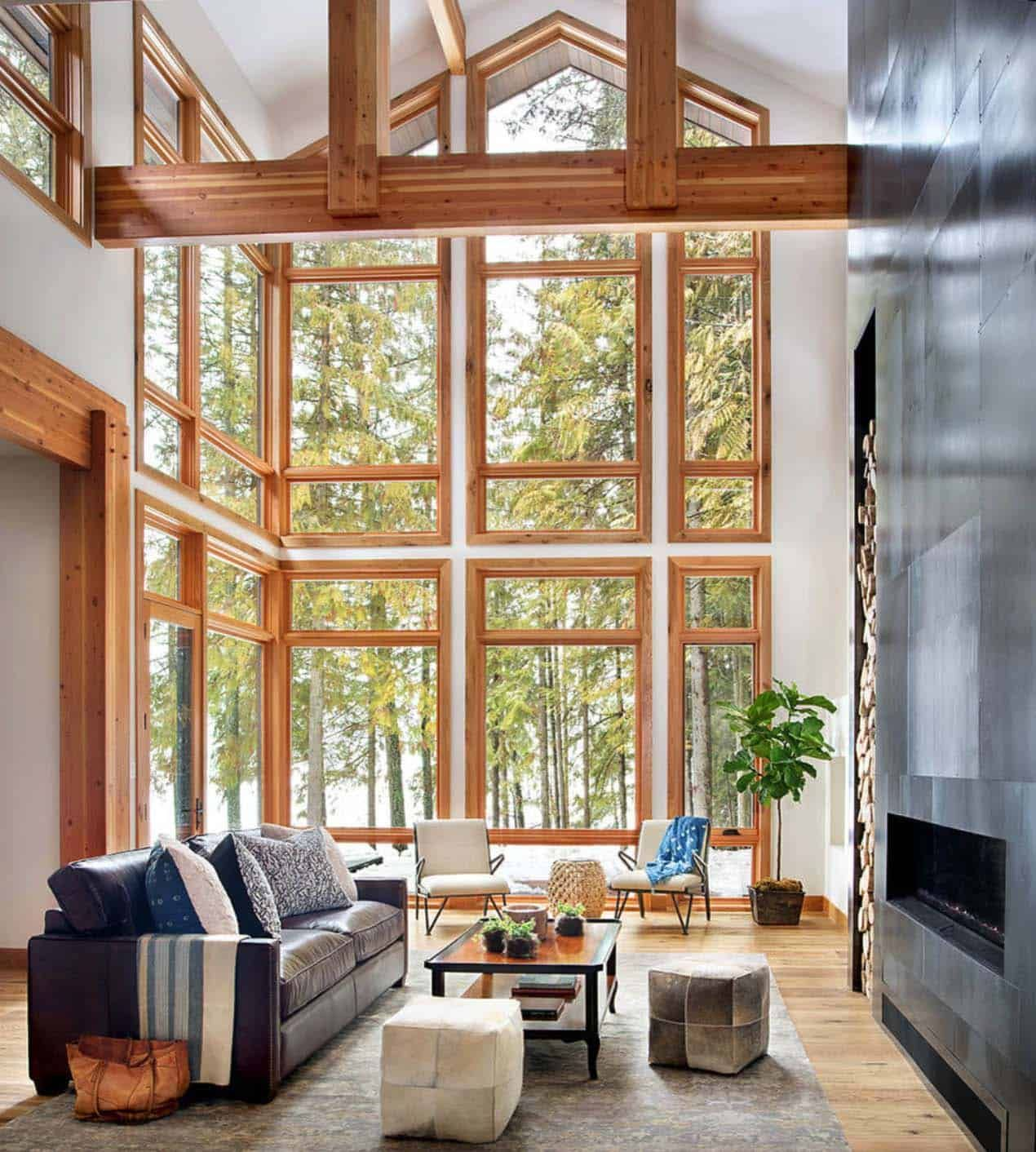 Striking lake house blends modern elements with ...