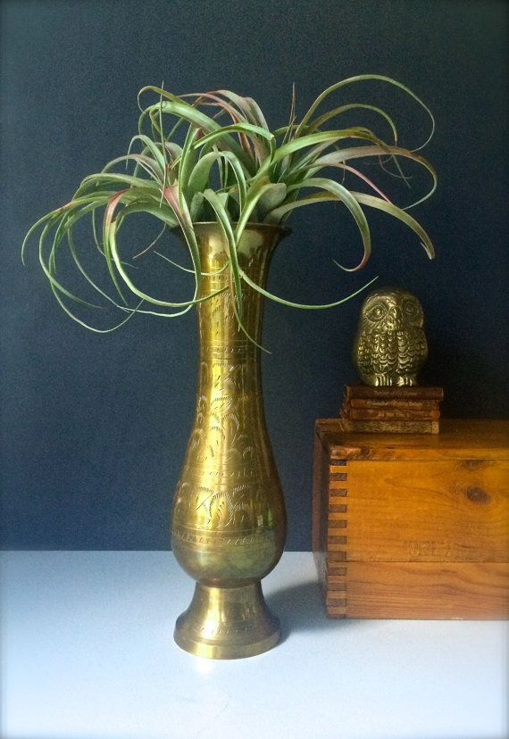 Vintage Brass Vase Indian Brass Bud Vase By Honeybeehillvintage