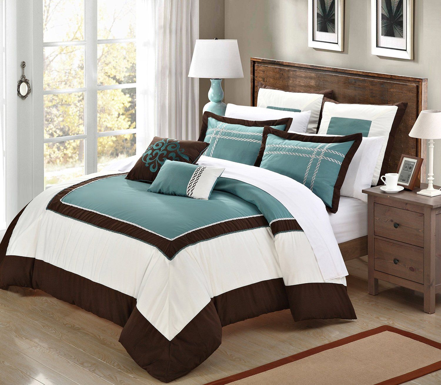 Blue and brown bedroom decor - Victoria Classics Blue Brown Daniella Comforter Set Classic Blue Brown And Comforter Sets