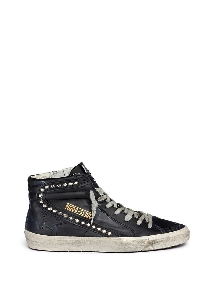 Golden Goose Black Leather Sneakers Black High Top Sneakers Studded Sneakers