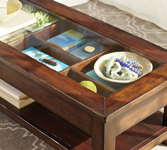 Benchwright Display Coffee Table Rustic Mahogany Stain Pottery Barn For Capt Room