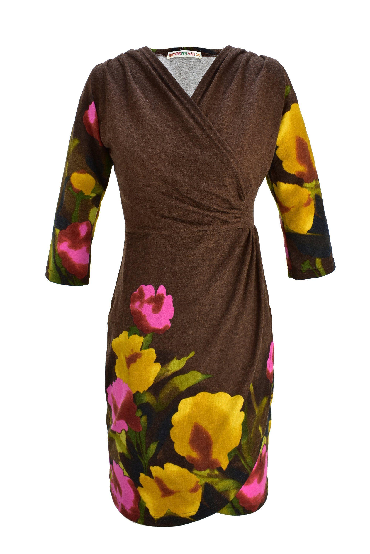 Knielanges Kleid mit Blumen Muster, braun, V-Ausschnitt ...