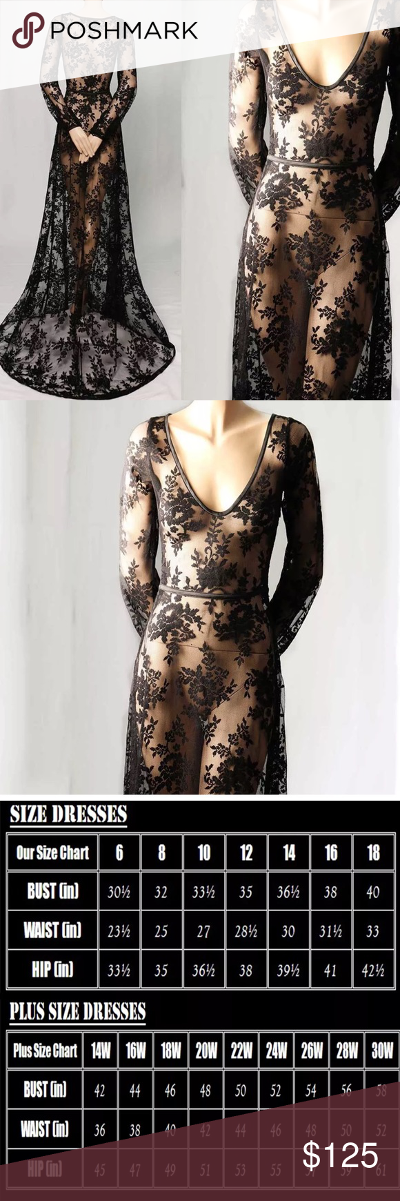 Long sleeve black flower see through dress size is the same as i
