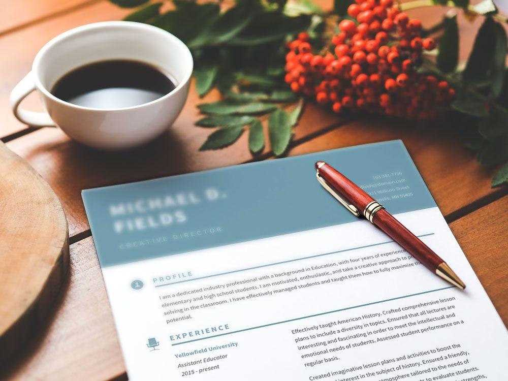 Free resume template with elegant teal header resume