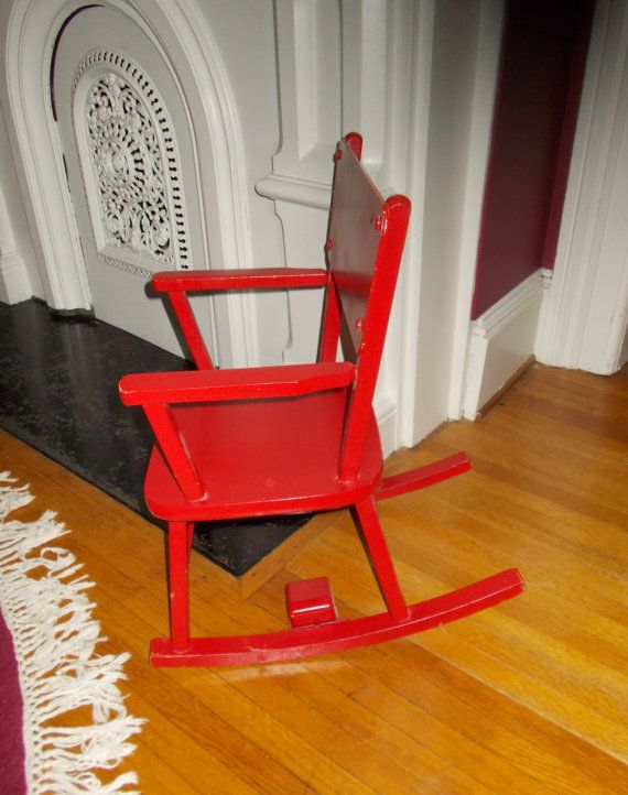 Vintage Childu0027s Red Rocking Chair Musical Rocker By NanNasThings