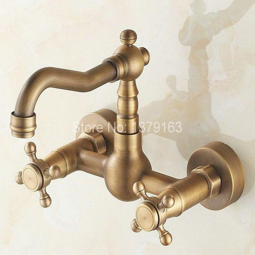 Antique Brass Bathroom Kitchen Basin Mixer Taps Sink Faucet Swivel Dual Handles