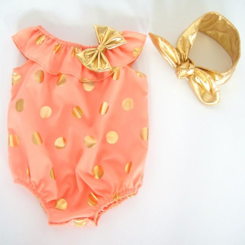 5499caac5cdc 2019 Summer Kids Clothes Gold Dots Metallic Baby Girls Bubble Romper ...