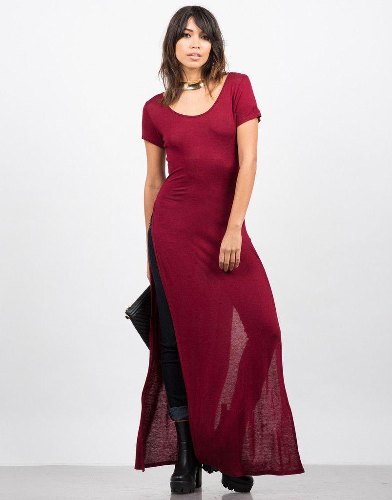 Dramatic Side Slits Maxi Tee Red Dress Maxi Maxi Tees Clothes Design [ 1024 x 803 Pixel ]