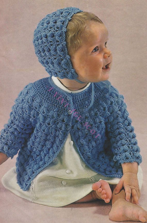 Baby / Toddler 4ply Jacket  and Hat for Size 20 ins - PDF of Vintage Crochet Patterns