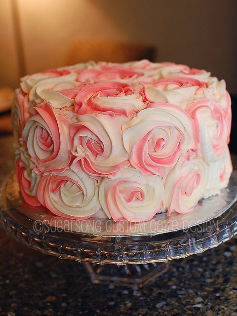rosette pink cake Cake Birthday cakes and Meringue
