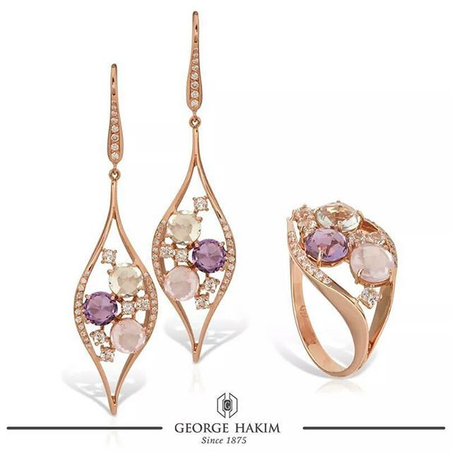 Amethysts and rose quartz, balanced in a pink gold movement with diamonds!  #GeorgeHakim #140PreciousYears www.georgehakim.com