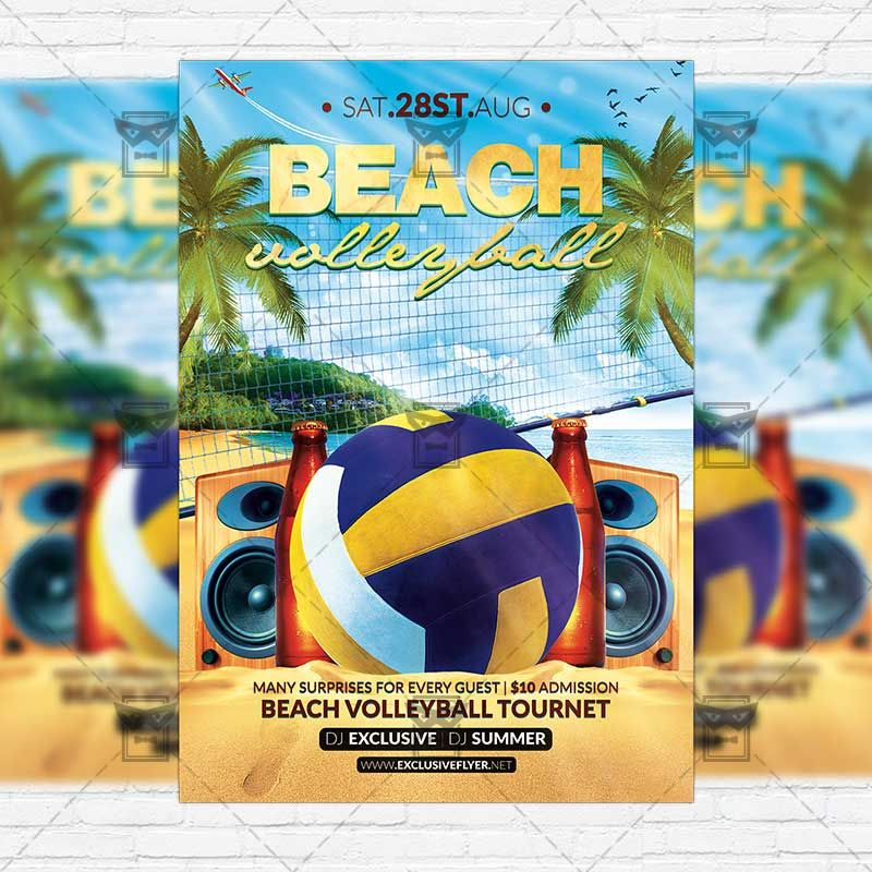 Beach Volleyball u2013 Premium Flyer Template + Instagram Size Flyer - picnic flyer template