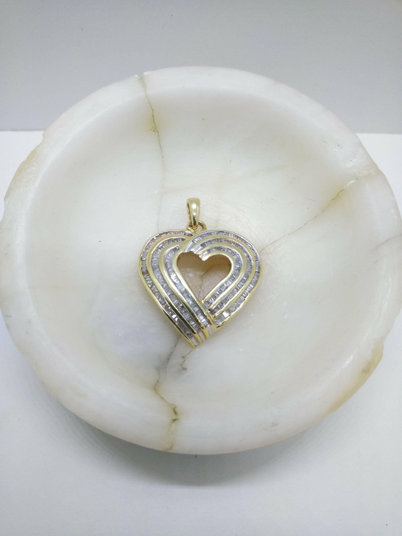 10k Gold Diamond Heart Pendant Solid 10k Yellow Gold Necklace Pendant In 2020 Heart Pendant Diamond Gold Pendant Necklace Diamond Cross Necklace Pendants
