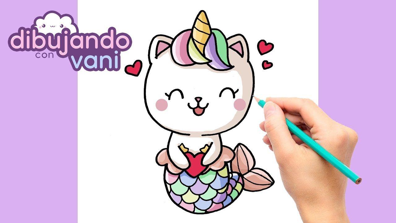 Como Dibujar Un Gato Sirena Unicornio Kawaii Dibujos Imagenes