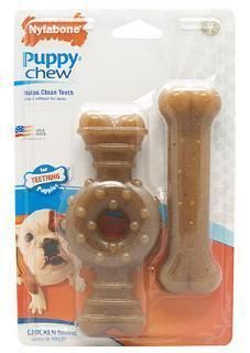 Nylabone Puppy Twin Pack Wolf Ring Flexi Combo Puppy Chewing