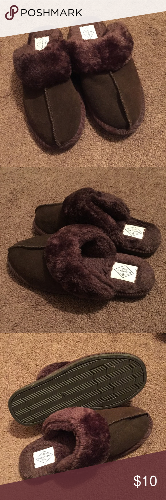 Brown Fluffy Slippers Size 7M NWOT St. John's Bay Shoes Slippers