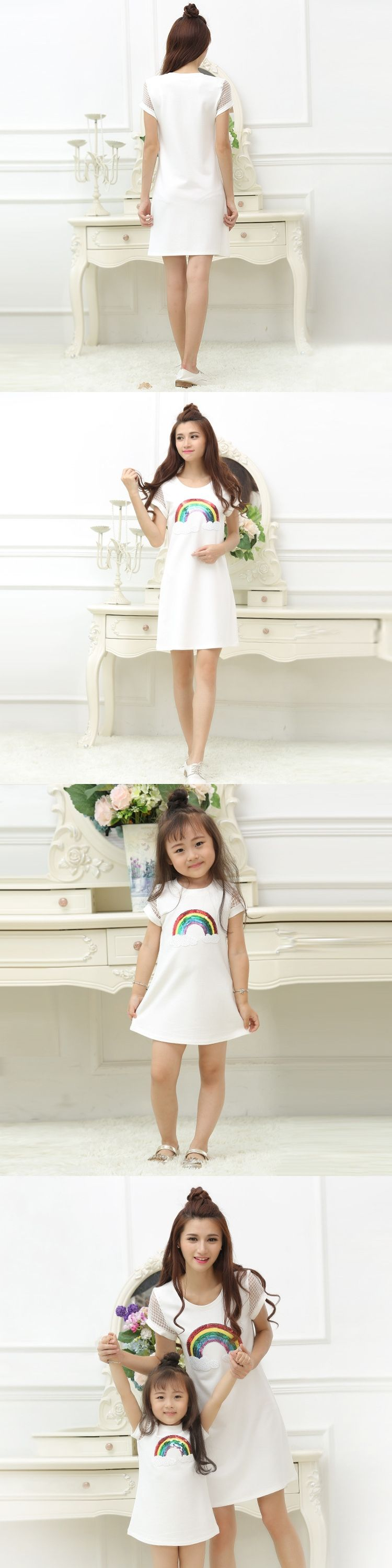 rainbow printing white t shirt dress mom and daughter matching