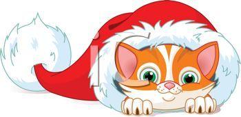 Christmas Cat Clipart Christmas Kitten Inside A Santa Hat Royalty Free Clip Art Image Christmas Cats Christmas Kitten Cat Clipart