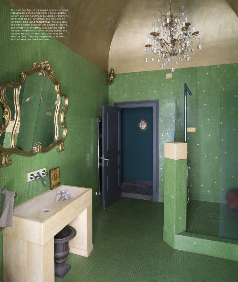 Bisazza green tiled bathroom in gold ceiling